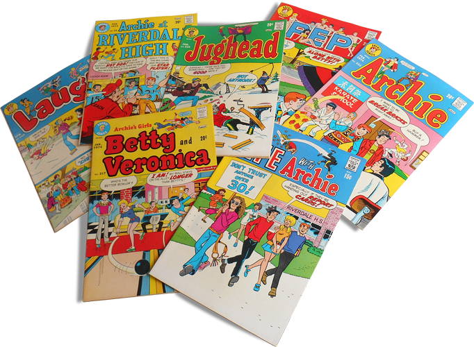 Photograph of a stack of Archie Series' magazines