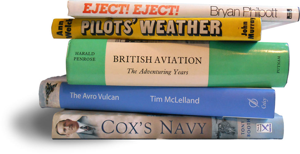 Photograph of a pile of military books