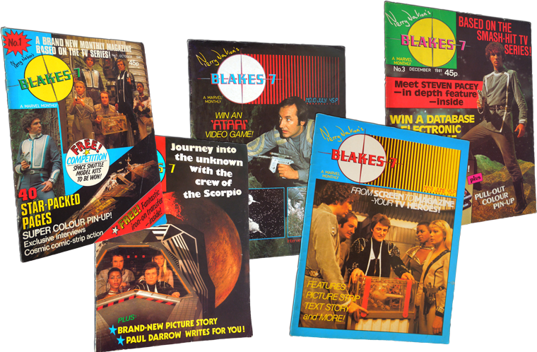 Photograph of a set of Blakes 7 magazines